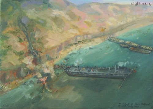 An artist's impression of X127 at Gallipoli
